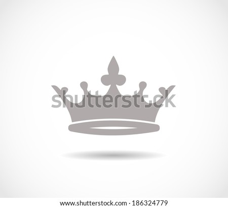 Crown grey icon - stock photo