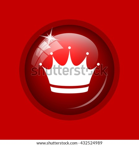 Crown icon. Internet button on red background.