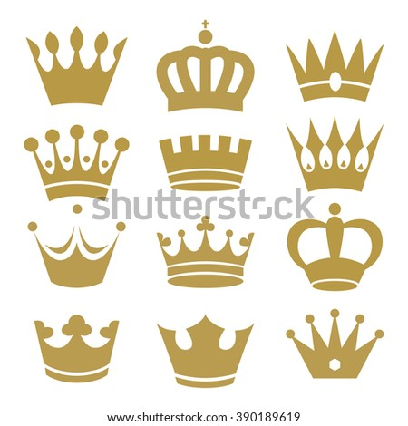 Crown icons on white background. Raster.
