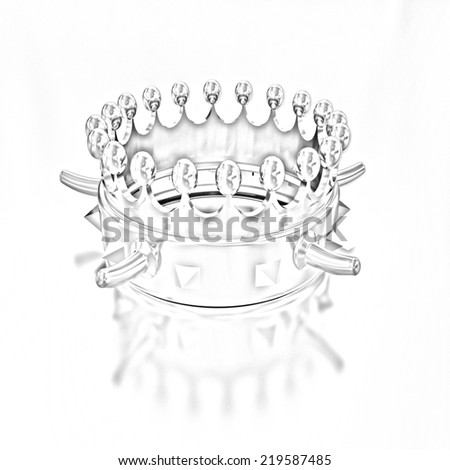 crown isolated on gold background. Pencil drawing  - stock photo