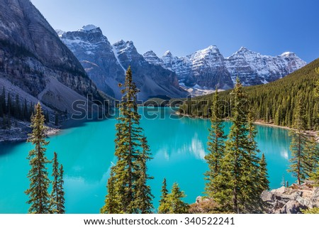 Crown Jewel of the Canadian Rockies, Moraine Lake in Banff National Park, Alberta - stock photo