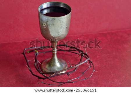 Crown of thorns and holy blood abstract religion concept - stock photo