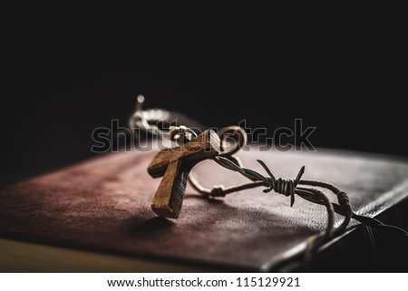 crown of thorns,bible and crucifix - stock photo