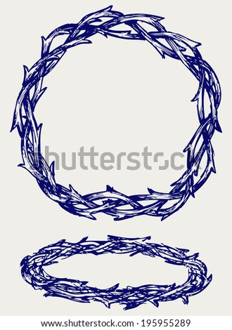 Crown of thorns. Doodle style. Raster version - stock photo