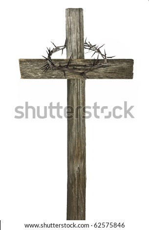 Crown of thorns hanging on a wooden cross isolated on white - stock photo