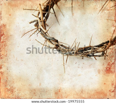 Crown of thorns on a grunge background. Copy-space for your text. - stock photo