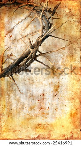 Crown of Thorns on a grungy background with copy-space for your text. - stock photo