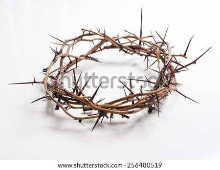 Crown of thorns on a white background Easter religious motif commemorating the resurrection of Jesus- Easter - stock photo