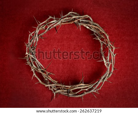 Crown of thorns on red background cloth - stock photo