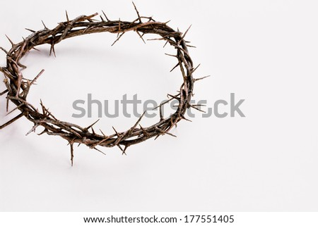 Crown of thorns over a white background with shadow and copy space. - stock photo
