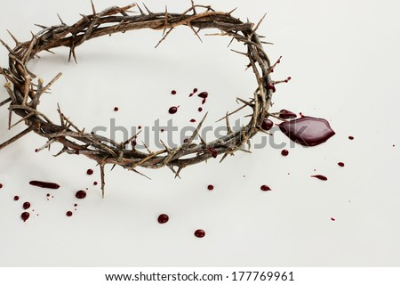 Crown of thorns with blood over white background.
