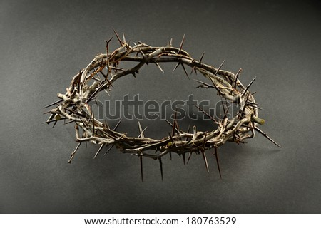 Crown of thorns with dramatic lighting on neutral background