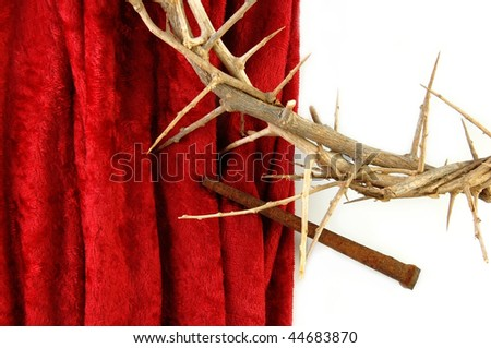 Crown of Thorns with metal spike on red background. - stock photo
