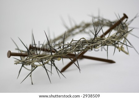 crown of thorns with nails - stock photo