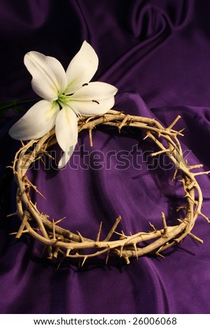 crown of thorns with white lily and purple background and room for copy