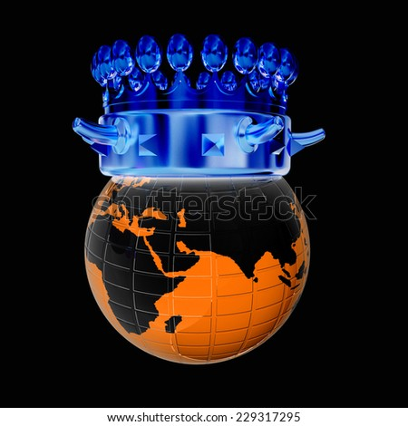 Crown on earth isolated on black background  - stock photo