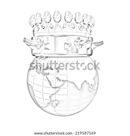crown on earth isolated on white background. Pencil drawing  - stock photo