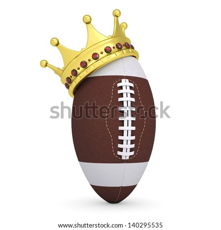Crown on the ball for American football. Isolated render on a white background - stock photo