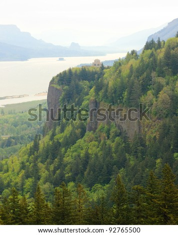 Crown Point in the Columbia River Gorge - stock photo
