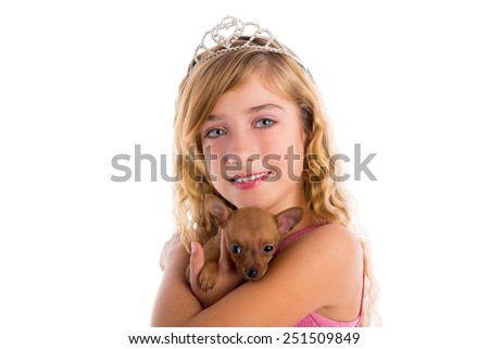 crown princess blond girl with puppy chihuahua dog portrait happy smiling - stock photo