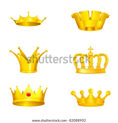 Crown set on white, bitmap copy