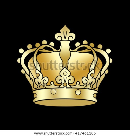 Crown symbol. Golden Crown king isolated on a black background. Digital illustration, image, icon. Gold Royal Crown. For Holiday Art, print, web, album graphic design.