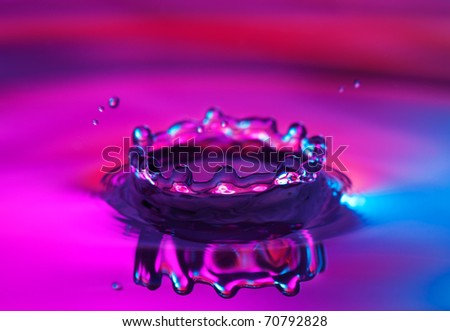 Crown water splash with reflection - stock photo
