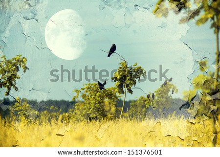 crows fly from tree to the background of storm clouds - stock photo