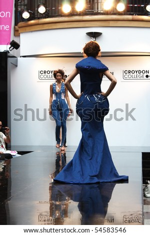 CROYDON, LONDON - JUNE 18 : Models in Fashion Festival on June 18, 2008 in Whitgift Shopping Centre, Croydon, England. - stock photo