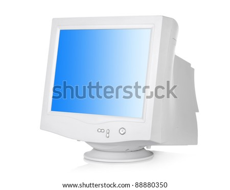 CRT monitor isolated on a white background - stock photo