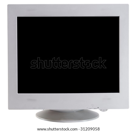 CRT monitor isolated on white front view - stock photo