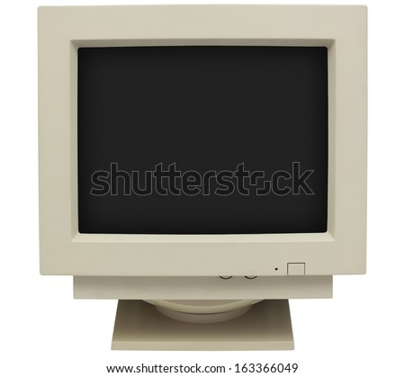 CRT monitor with black screen for copy isolated on white with clipping path - stock photo