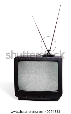 CRT television receivor with antenna - stock photo