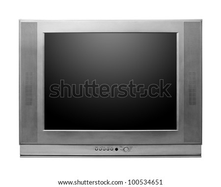 CRT TV With Screen Clipping Paths Included isolated on white background - stock photo