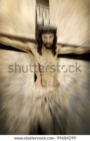 Crucified Jesus Christ - Easter abstraction - stock photo