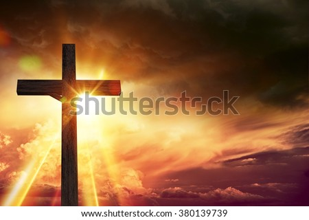 Crucifix Blessing Lights Background. Large Wooden Crucifix at Sunset with Right Side Copy Space. Christianity Theme Illustration. - stock photo
