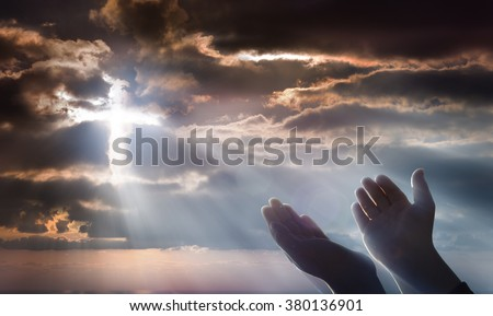 Crucifix From Heaven - Faith And Prayer  - stock photo
