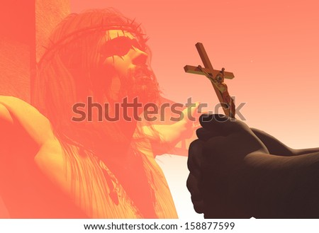 Crucifix in hand over Jesus. - stock photo