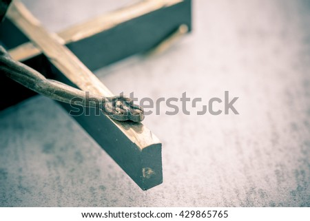 Crucifix, jesus christ on the cross. Symbol of christian religion, faith, worship and belief. Concept of death, suffering and holy figure. - stock photo