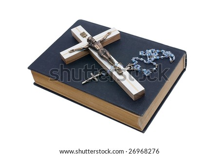 Crucifix Jesus white background isolate. - stock photo