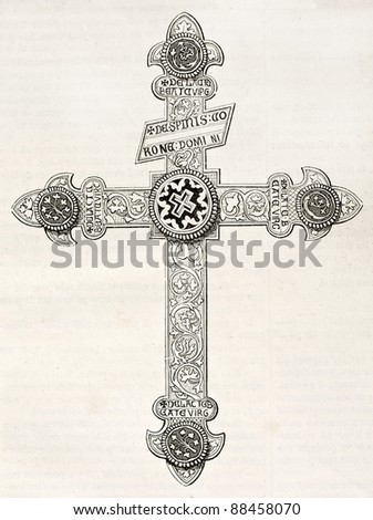 Crucifix kept in Orval church, old illustration. By unidentified author, published on Magasin Pittoresque, Paris, 1844 - stock photo
