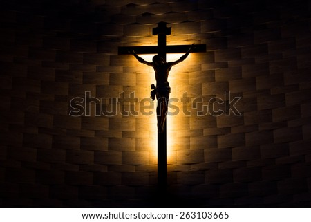 Crucifix of the Catholic faith in silhouette - stock photo