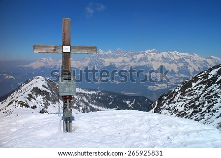 Crucifix on the top of Rippetegg, Austria - stock photo