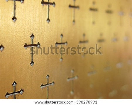 crucifix wall , selective focus  - stock photo