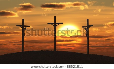 crucifixion at sunset - stock photo