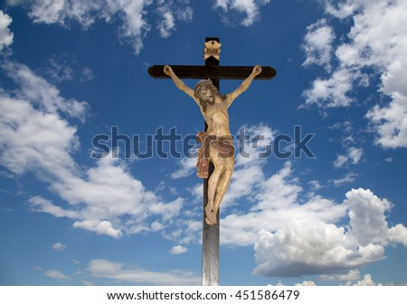 Crucifixion jesus christ statue on the sky background    - stock photo