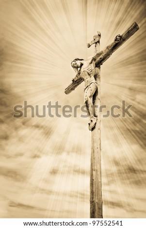 Crucifixion - Jesus on the cross - stock photo