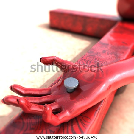 Crucifixion - the passion of the messiah. A fragment of the body of Christ - a nail pierced hand - stock photo