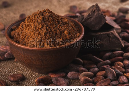 crude dark cocoa powder in a brown ceramic bowl, raw cocoa beans in the peel and raw chocolate on sacking close up, ingredients for preparing chocolate and sweets - stock photo