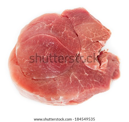 Crude meat on a white background